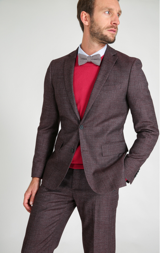 Veste tweed 100's natural stretch brun slim
