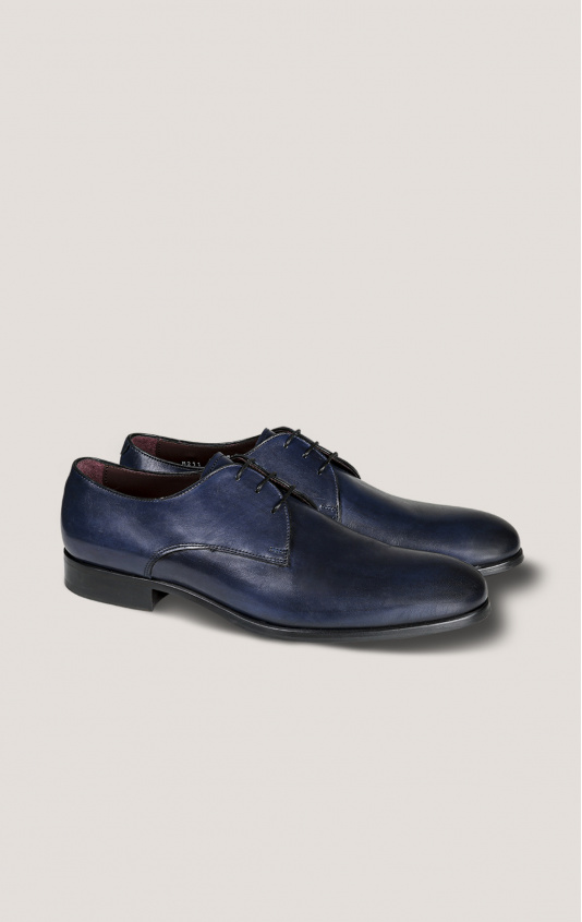 Derby cuir bout lisse rond marine