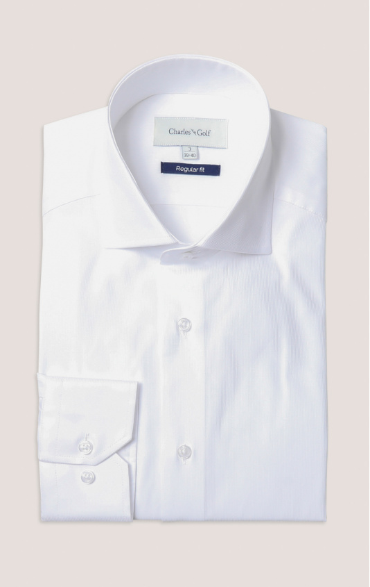 Chemise ville regular rayures tissŽes coton col italien blanc