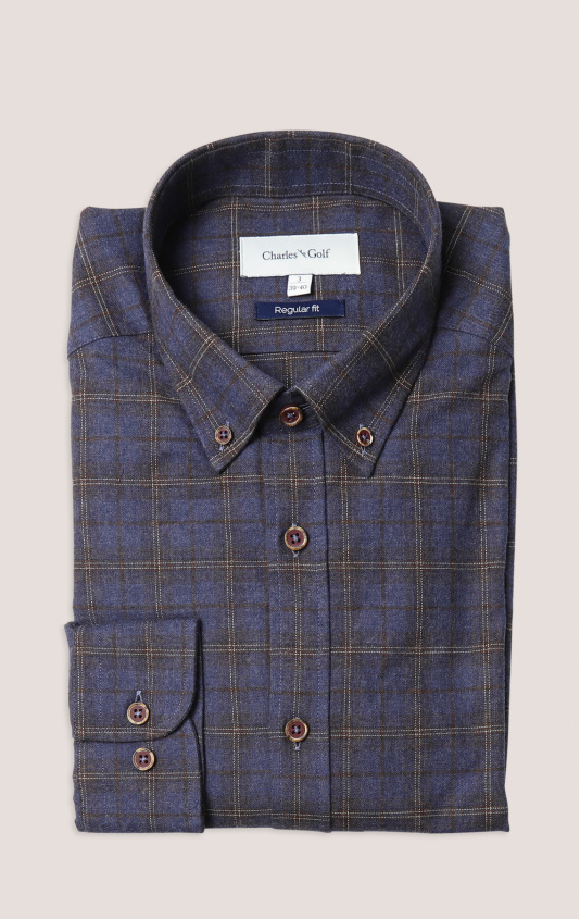Chemise casual regular grand carreau marine