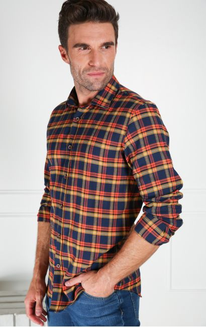 Chemise casual slim carreaux sport multicolore