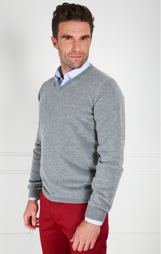 Pull col v laine lambswool gris bleu