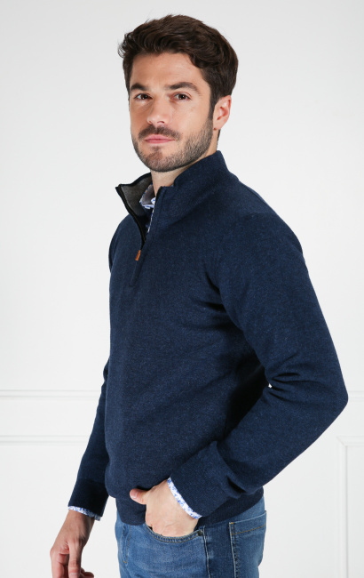Pull col zip laine lambswool bleu