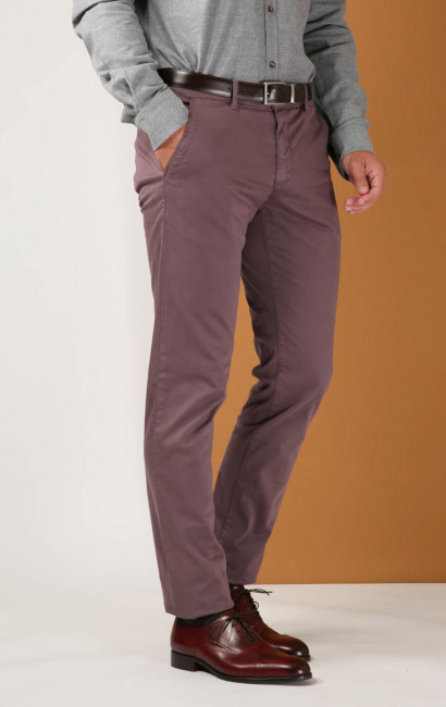 Pantalon slim satin lourd burgundy