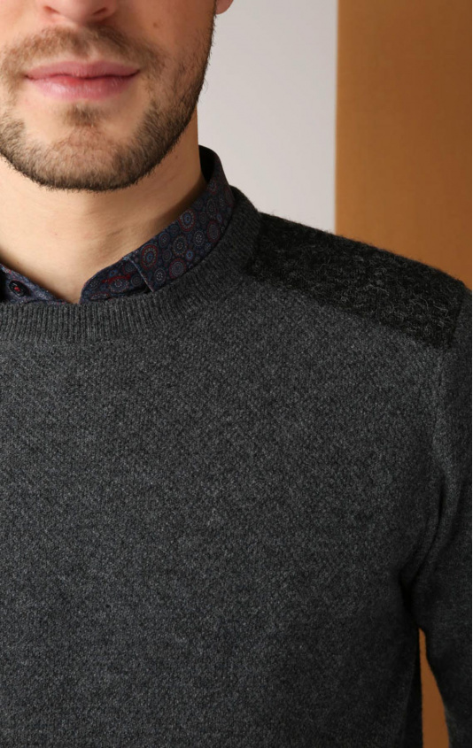 Pull col rond coton laine anthracite
