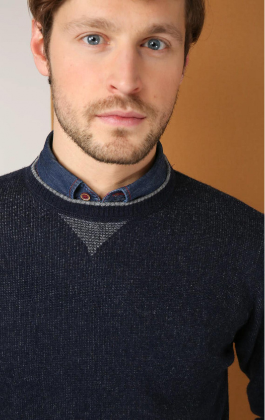 Pull col rond marine gris