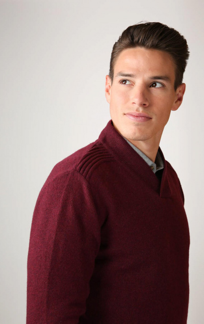 Pull col chale burgundy