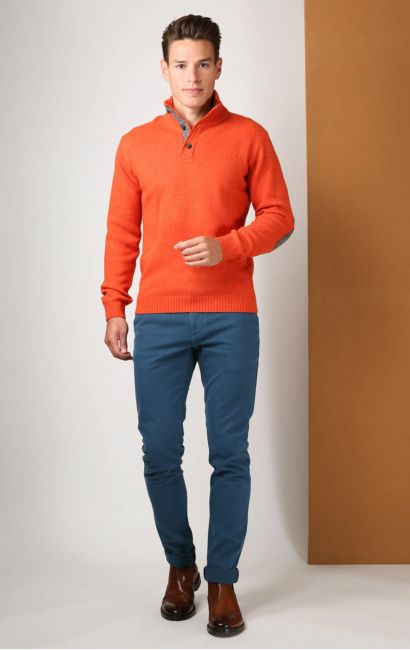Pull coudes coudes quiltes orange