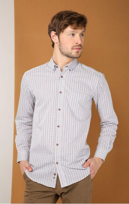 Chemise casual regular carreaux british acajou indigo