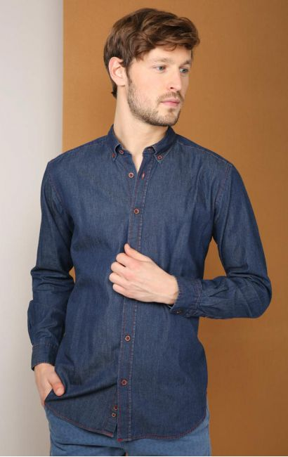 Chemise casual regular denim col boutonnée indigo