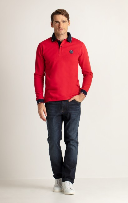 Polo manches longues rouge Slim
