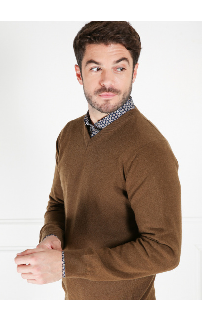 Pull col v laine lambswool terre