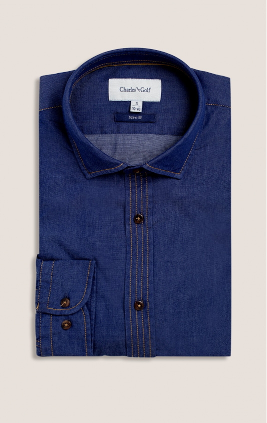 Chemise casual slim denim