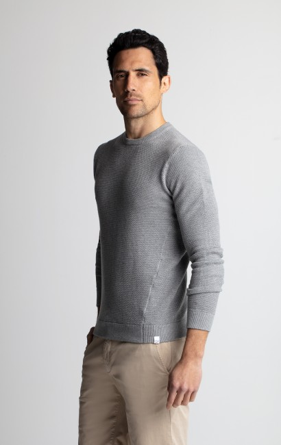 Pull sweat coton gris chiné