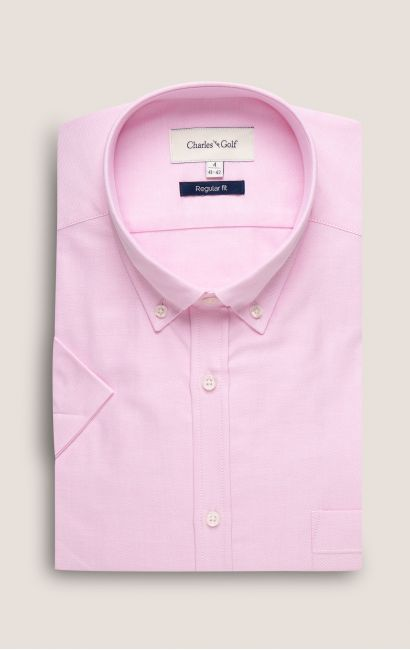 Chemise manches courtes regular rose
