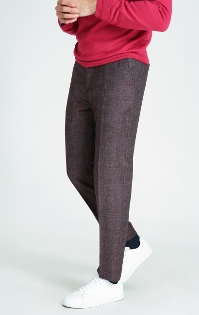 Pantalon tweed 100's natural stretch brun slim